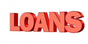 Loans spelled out in big red block letters